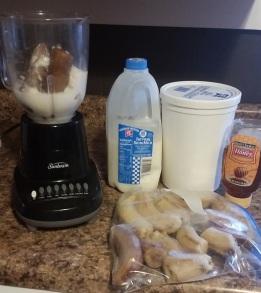 The 4-Ingredient Smoothie: 1/2 cup milk, 1 cup vanilla yogurt, 3 bananas (frozen), & 2 tsb. honey.