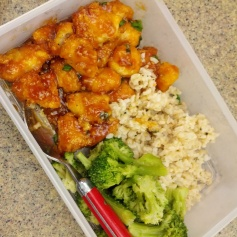 Honey Sriracha Chicken: 1 chicken breast, 4 cloves garlic, 2 green onions, 1/3 cup honey, 2 tbs soy sauce, 1 tbs sriracha, 1 tbs cornstarch, 1 tsp salt and pepper, 2 tsp sesame seeds, 1 cup panko bread crumbs. Serve with a side of whole grain rice and veggies! (I like broccoli!)
