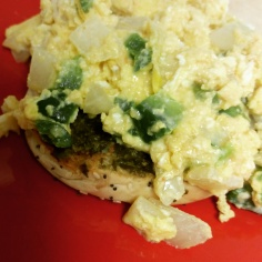 Scrambled Egg Mix: 1-2 eggs (scrambled), 1/2 cup Mexican cheese or 1 slice provolone cheese, 1/2 cup spinach, 1/4 cup chopped onion, 2 tbs pesto sauce. Eat hot!
