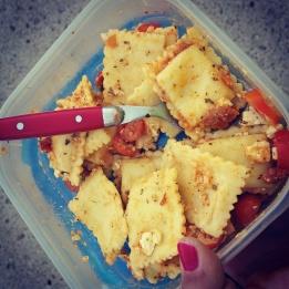 Tomato Tortellini: 2 cups tortellini, 1 cup mini tomatoes (chopped), 1/4 cup garlic and herb Feta cheese, 1/2 cup tomato garlic pesto sauce.