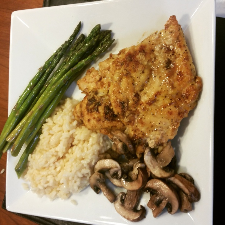 Traditional, But Yummy Chicken Dish: 1 chicken breast (sautéed in 1 tbs vegetable oil and seasoned with lemon pepper), 1 cup risotto rice, 2 cups asparagus (sautéed in 1 tbs vegetable oil and seasoned with garlic salt). Add 1/2 cup sautéed mushrooms for flavor!