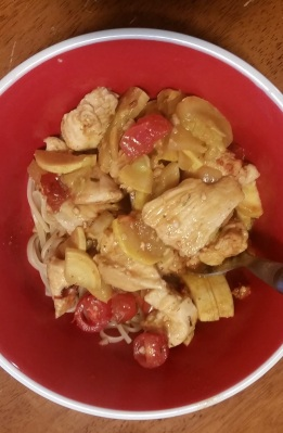 The Quickest, Yummiest, Garlicy-est Dinner You'll Ever Make: Ingredients:6 tbsp olive oil1-2 chicken breasts cut into small pieces1 tbsp butter2 tbsp minced garlic¼ onion, chopped (if you love onions like I do, do ½ the onion chopped)1 yellow zucchini, chopped1 small can diced tomatoes (or 2 medium-sized tomatoes, chopped)1 tsp oregano/Italian seasoning3 tbsp parmesan cheese (optional)