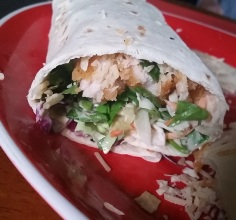 The Chicken Caesar Wrap: Ingredients: 1 tortilla (regular, sun-dried tomato basil, spinach herb), 1 cup breaded chicken, pre-cooked. (You can substitute this with lunch meat, leftovers, or really any type of meat!), 1 cup spinach/lettuce/cabbage, 1/2 cucumber sliced thin, 2-3 tbs. Caesar salad dressing, 2 tbs. Parmesan cheese.