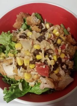 DIY Chipotle: 1 tbsp vegetable oil, 1-2 cups rice, 3 tbsp lime juice, 1 can corn, 1 can black beans, 2 cups lettuce, 2 tbsp minced garlic, 1/2 onion, 1 can red & green chiles, 1 cup shredded cheese, 1-2 chicken breasts, 2 tbsp taco seasoning, 2 tbsp sour cream, chopped parsley/cilantro, 1 pinch of red pepper flakes, 1 pinch onion powder.