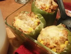 Stuffed Peppers: 1 lb meat of choice, 4 peppers, 1 bag frozen corn, 1/2 chopped onion, 1 can diced tomatoes, 3 tbsp minced garlic, assorted spices: oregano, Italian seasoning, onion powder, salt and pepper; 1 can beans, 2 cups brown rice, 1 1/2 cans of tomato sauce, 2 cups mozzarella.
