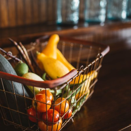 grocery basket of fruits and vegetables