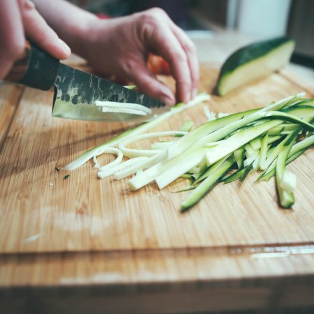 zucchini chopped on cutting board