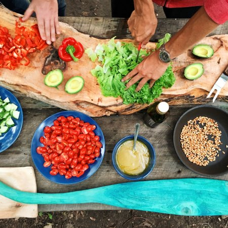 vegetarian friendly bbq table with hands